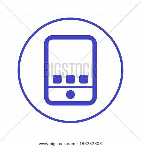 Tablet computer gadget circular line icon. Round sign. Flat style vector symbol