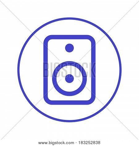 Sound speaker circular line icon. Round sign. Flat style vector symbol
