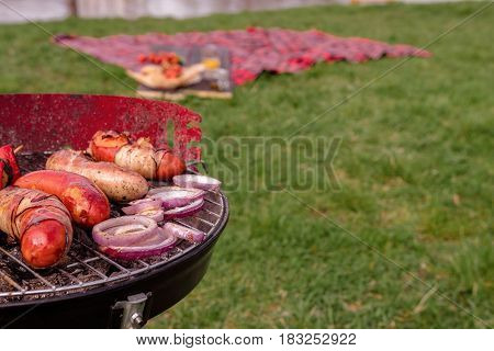Grill With Various Delicious Barbecue Outdoor, Selective Focus