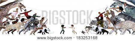 Childhood Memories and Imaginary Friend Children Concept 3D Illustration Render