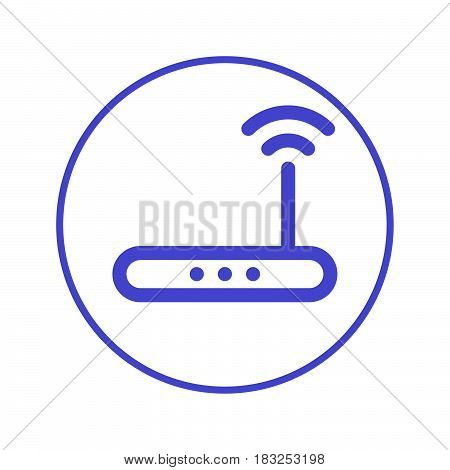 Wireless wi-fi router circular line icon. Round sign. High speed internet connection flat style vector symbol