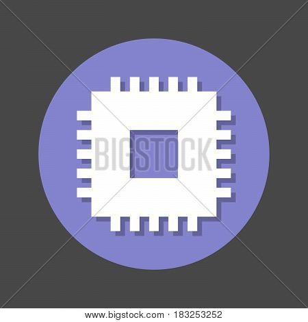 Chip CPU flat icon. Round colorful button circular vector sign with shadow effect. Flat style design