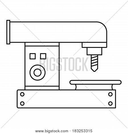 Drilling machine icon in outline style isolated on white background vector illustration