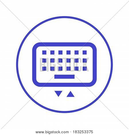 Mobile keyboard circular line icon. Round sign. Flat style vector symbol