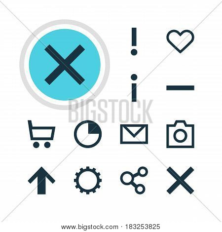 Vector Illustration Of 12 Interface Icons. Editable Pack Of Letter, Stopwatch, Emotion And Other Elements.