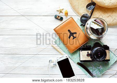Summer Travel Wanderlust Concept, Space For Text, Flat Lay. Map Camera Sunglasses  Passport Money Ph