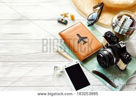 Summer Travel Wanderlust Concept, Space For Text. Map Camera Sunglasses  Passport Money Phone With E