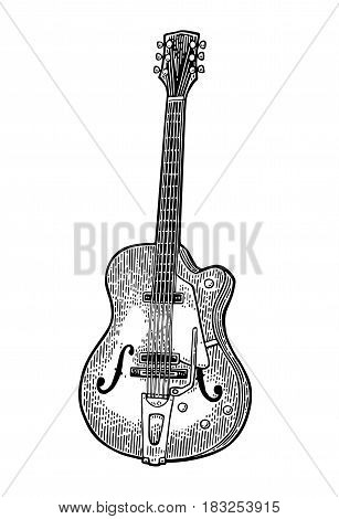 Six String semi acoustic guitar. Vintage vector black engraving illustration for poster, web. Isolated on white background.