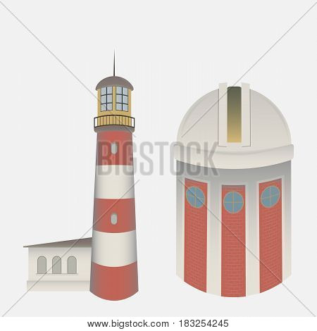 vector isolate on white background the lighthouse and the Observatory
