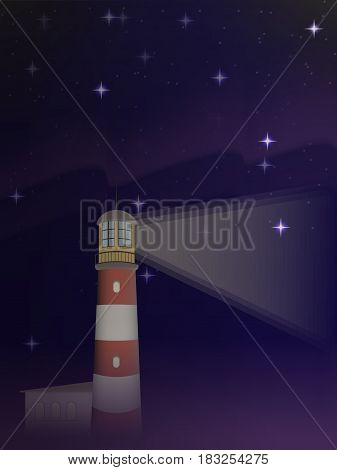 vector lighthouse shines in the distance. against the starry sky. Northern lights