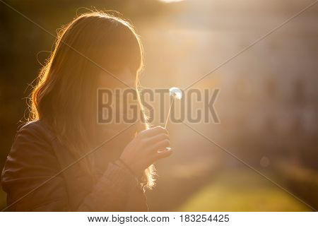 Delicate and fragile girl, sweet hope woman and nature. Romantic sunset. Profile illuminated a sweet woman with a dandelion flower in hand.