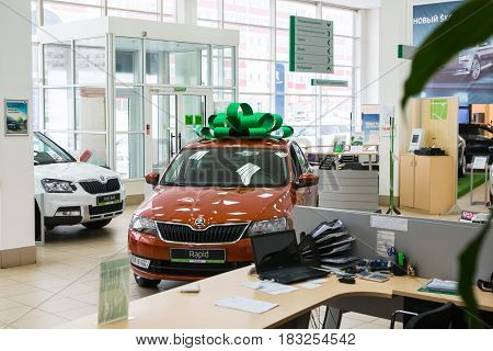 Showroom And Car Of Dealership Skoda In Kirov City In 2016