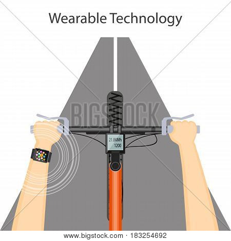 Flat modern vector illustration concept of wearable technology with smart watch speedometer and hands on the bike handlebar. eps 10.