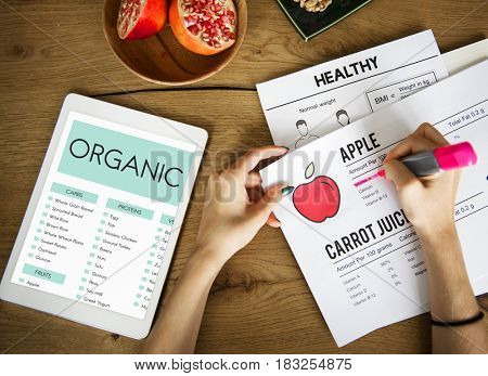Writing Down Notes healthy Food