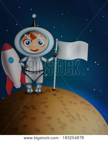 Astronaut in space suit standing on the planet surface with flag