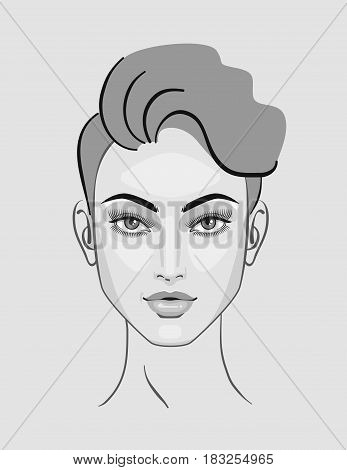 Woman, girl hairstyle, portrait makeup illustration for beauty, blonde, sketch, pink lips, freehand fashion style. Monochrome.