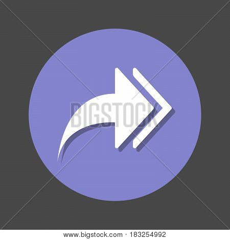 Right arrows Forward flat icon. Round colorful button circular vector sign with shadow effect. Flat style design