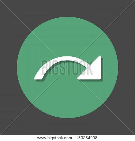 Redo right arrow flat icon. Round colorful button circular vector sign with shadow effect. Flat style design
