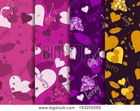 Seamless Romantic Pattern. Background With Hearts, Berries And Lips. Elements Of Grunge Style. Set O