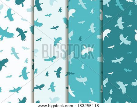 Seamless Patterns With Birds. Color Mint Blue. Vector Backgrounds