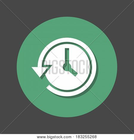 History clock with arrow around flat icon. Round colorful button circular vector sign with shadow effect. Flat style design
