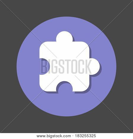 Puzzle piece plugin flat icon. Round colorful button circular vector sign with shadow effect. Flat style design