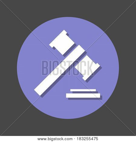 Auction gavel judge hammer flat icon. Round colorful button circular vector sign with shadow effect. Flat style design
