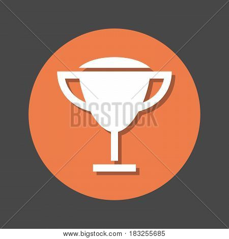 Winner trophy prize flat icon. Round colorful button circular vector sign with shadow effect. Flat style design