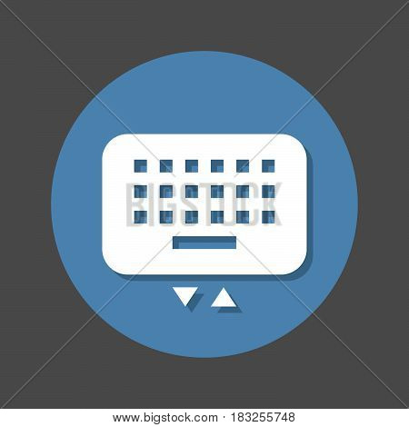 Mobile keyboard flat icon. Round colorful button circular vector sign with shadow effect. Flat style design