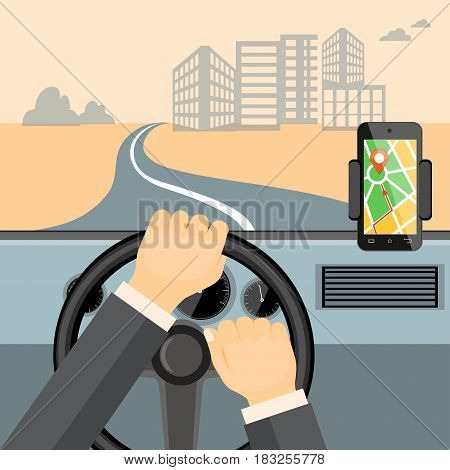 Flat modern vector illustration mobile gps app on the mobile phone with map pointer and driver hands on the steering wheel of the car. eps 10.