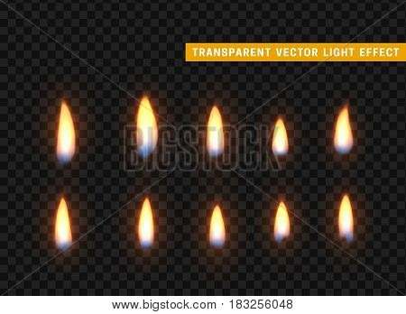 Fire flames set isolated realistic. Background transparent vectors effect