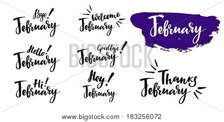 Hello - bye February - winter calligraphic set. Vector isolated illustration: brush calligraphy, hand lettering. For calendar, schedule, diary, journal, postcard, label, sticker and decor