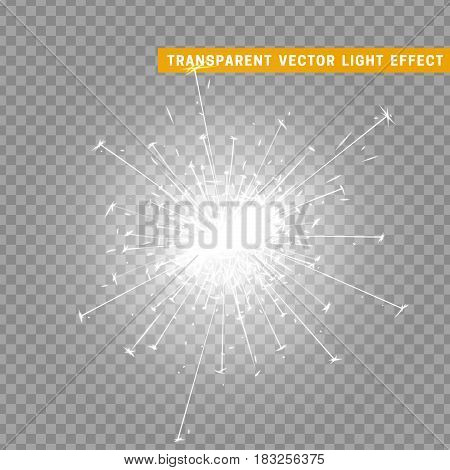 Gold light effect. The effect of white sparkler. Bright Star with transparency. Glowing glitter. Isolated Christmas decoration. Magic lighting object