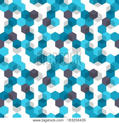 Honeycomb vector background.Pattern of blue, white and black color for medical presentation. Modern geometric texture, ornament with colored hexagons and cubes.