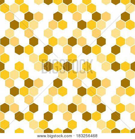 Honeycomb vector background. Seamless pattern with colored hexagons. Geometric texture, ornament of brown, white and yellow color for beekeeping business backdrop.
