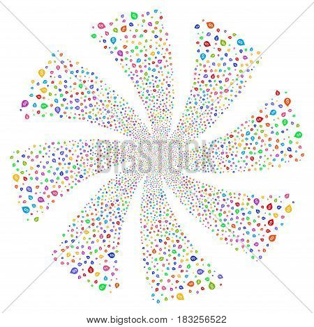 Banking Map Marker fireworks swirl rotation. Vector illustration style is flat bright multicolored iconic symbols on a white background. Object twirl done from random icons.
