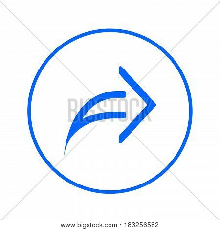 Arrow right forward circular line icon. Round colorful sign. Share flat style vector symbol