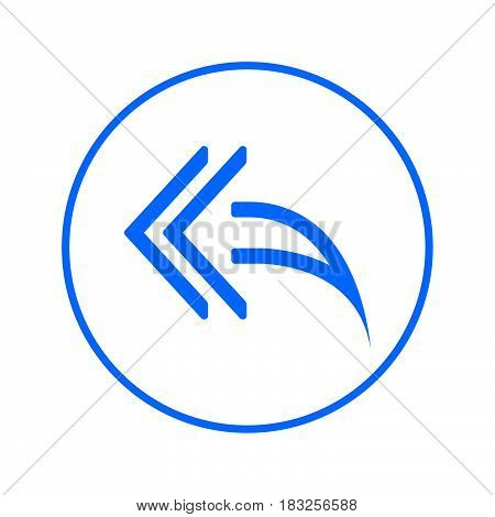 Left arrows Reply to all circular line icon. Round colorful sign. Flat style vector symbol