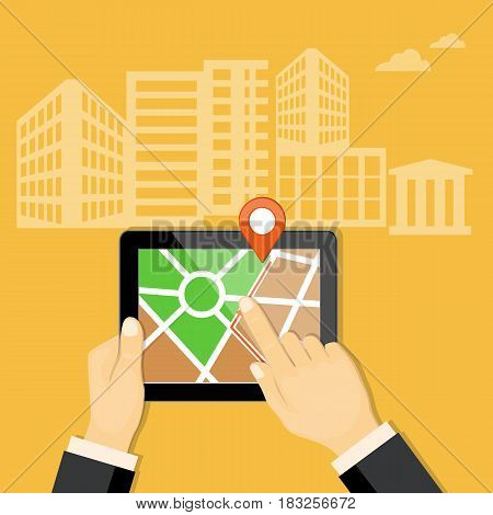 Flat modern vector illustration gps app on the mobile tablet in the hand of businessman with map and pointer. eps 10.