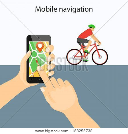 Flat modern vector illustration mobile gps app on mobile phone in the hands with map pointer and riding bike. eps 10.