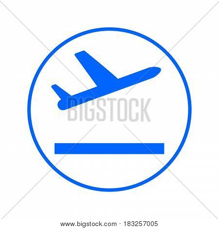 Plane takeoff circular line icon. Round colorful sign. Flat style vector symbol