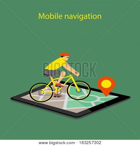 Flat modern vector illustration mobile gps app on tablet with map pointer and riding bike. eps 10.