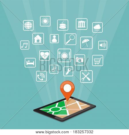 Flat modern vector illustration mobile gps app on the tablet with map pointer and web icons. eps 10.