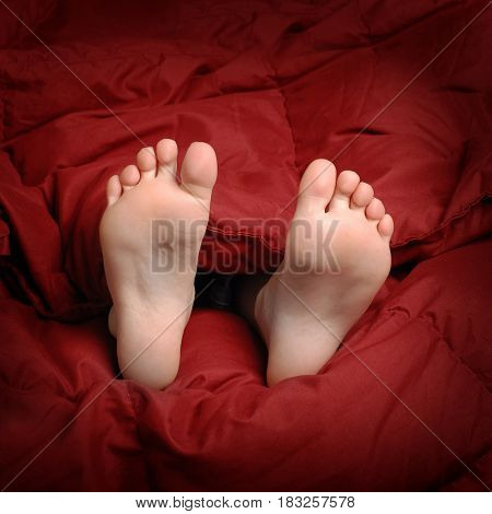 Feet in bed with red blanket people resting
