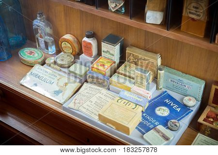 Grodno Belarus - April 5 2017: shelf with retro drugs and medicaments in the pharmacy museum of Grodno in the Historical Center of city. Grodno Belarus.