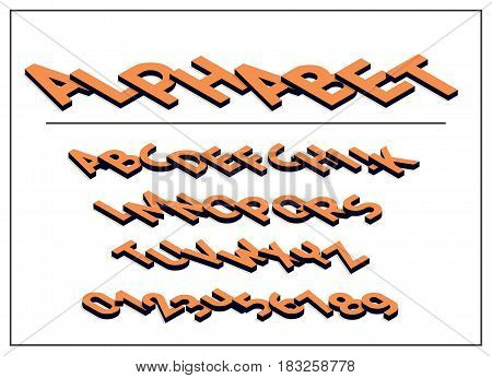 Alphabet letter. Font and abc letters print typography vector Illustration. Isometric Alphabet letters