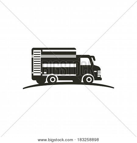 Logo with truck isolated on white background. Monochrome style symbol. Delivery auto. Transportation service