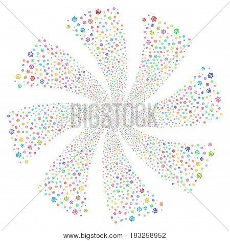 Boat Steering Wheel fireworks swirl rotation. Vector illustration style is flat bright multicolored iconic symbols on a white background. Object twirl combined from random pictograms.