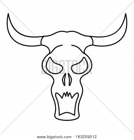 Buffalo skull icon in outline style isolated on white background vector illustration