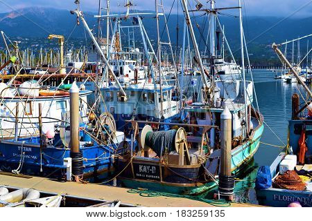 March 15, 2017 in Santa Barbara, CA:  Commercial Fishing Vessels docked at the Santa Barbara Marina where people can ride their boats out to the Pacific Ocean where they can catch many large fish including Tuna Fish taken in Santa Barbara, CA